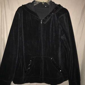 Quacker Factory Black velour and sequin zip hoodie